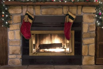 Paint can brighten up this faux stone fireplace for the next holiday season.