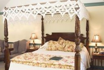 A classic four-poster bed adds a romantic flair to the bedroom.