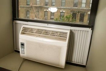 Window air conditioners use refrigerant, which flows through coils to cool the air.