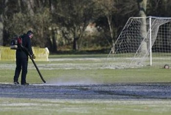 Leaf blowers can also be used to clear small amounts of standing water on fields.