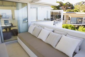 Balconles that feature sliding glass doors allow room for larger furniture pieces.