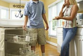 Standing water can begin to smell inside a dishwasher.