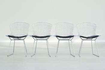 Colored or metallic paint finish protects the structure of a wire chair.