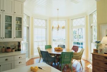 A bay window is a bonus breakfast nook off the kitchen.