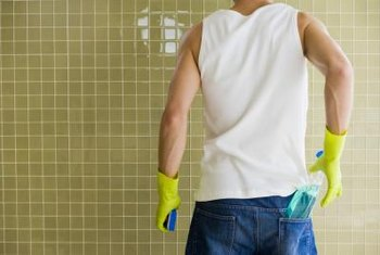 Mold and mildew often grow on surfaces in the bathroom, but can be easily cleaned with vinegar and baking soda.