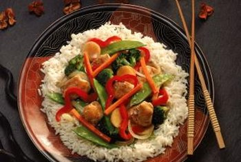 A stir-fry can be low-carb, but white rice is a high-carb accompaniment.