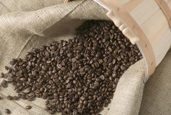 Coffee beans add texture and aroma to a table setting.