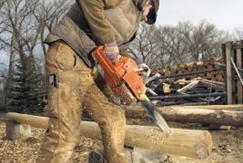 Wear tight-fitting clothes, heavy boots, gloves and earplugs when operating a chainsaw.