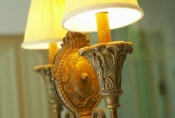 Antique two-socket lamps are a charming addition to a living room.