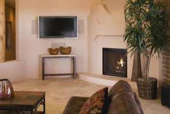 Your corner fireplace can set at a 45-degree angle.