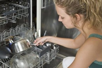 Remove broken glass from a dishwasher drain to prevent flooding.