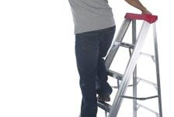 A step ladder makes it easy to reach parts of the ceiling.