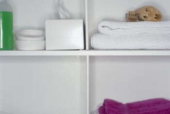Bathroom cabinet shelves occasionally need a fresh coat of paint.