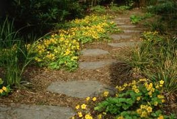Flagstones and mulch work well in a natural-style garden.