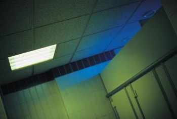 Flush fluorescent fixtures may be installed in all types of ceilings.