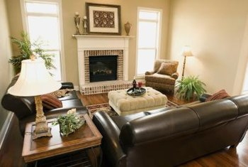 Neutral colors are a natural complement to a leather sofa.