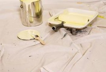 Make sturdy curtains with paint canvas drop cloths.