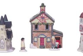 Create a mantel-top Christmas village with miniature houses.