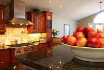 Recessed lightings add to pleasant kitchen atmospherics.