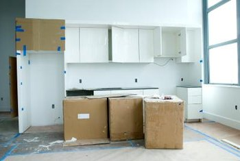 Prefab cabinets come in boxes.
