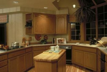 Island base cabinets are installed directly to the floor.