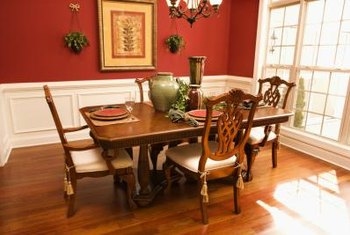 A creative use of accessories can make a wood-grain table work with black furniture.