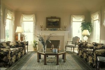 Matching swags are graceful over floor-length living room drapes.