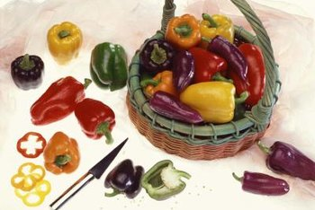 Bell peppers grow in a variety of shapes, sizes and colors.