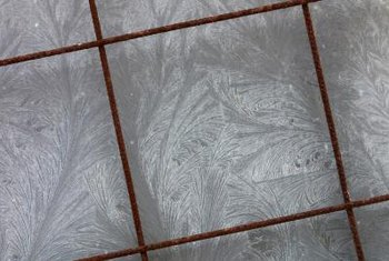 Painted grout adds interest to otherwise plain tiles.