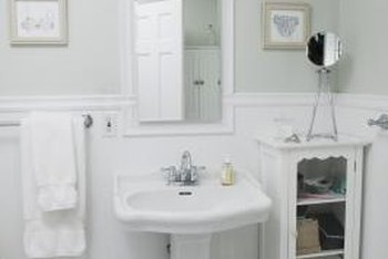 White beadboard adds charming character to a cottage-style bathroom.