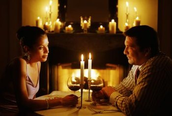 Candlelight sets the mood for a romantic dinner.