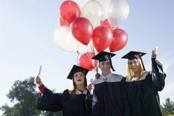 Tie faux rolled-diplomas and small graduation hats to balloon streamers as party favors.