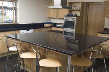 Kitchen island counters that serve as eating areas may need supports.