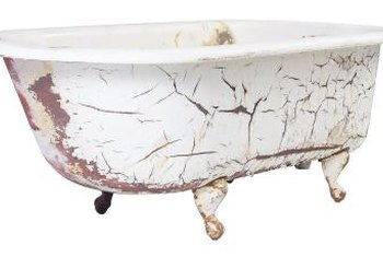 You may not want to paint or refinish a vintage tub, as cracked, peeling paint adds character.