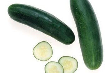 Mature cucumbers become dull green.