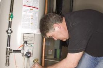 Look for the installation sticker on a water heater.