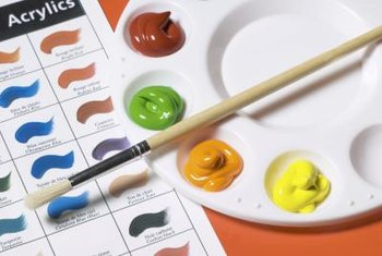 Bright acrylic paints are easy to work with and to clean up.
