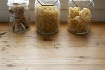 Save cooking instructions when storing foodstuffs, like pasta, in glass jars.