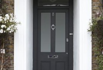 A freshly painted door welcomes visitors.