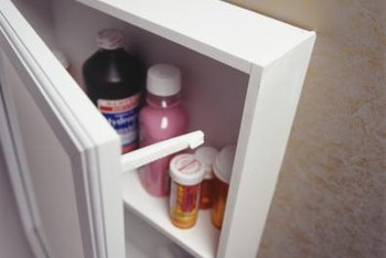 A storage cabinet is suited for light use, such as storing medications or laundry supplies.