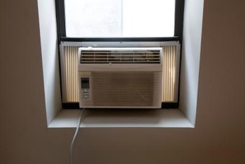 Window air conditioner baffles provide noise suppression and air circulation.
