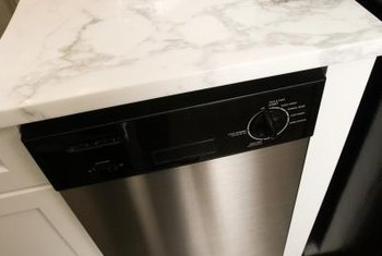 Space-saver dishwashers are often tucked into a standard cabinet opening.