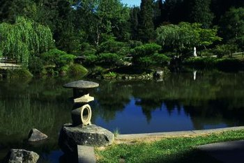 Tranquil gardens often incorporate soft plants, stones and water.