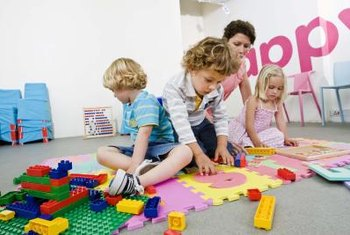 Cover a hard playroom floor with soft foam tiles.