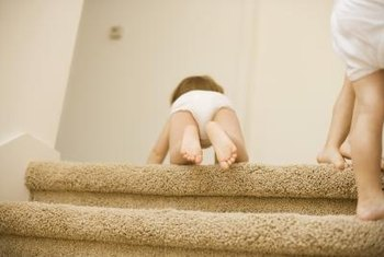 Carpeted staircases often have particle board stair treads serving as the structural underlayment.