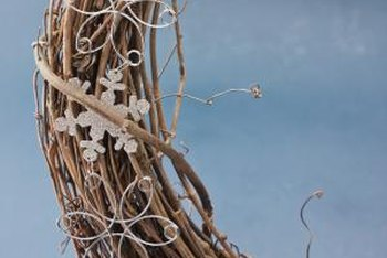 A wicker wreath needs very little embellishment to look attractive on your door.