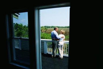 Use sliding glass doors for patio access.