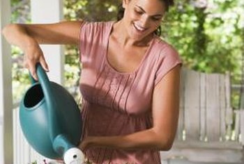 A watering can or nearby hose is convenient for watering deck flowers.