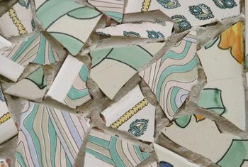Broken tile shards can be recycled and used to make your next mosaic.