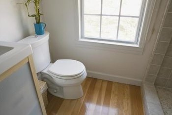Wood flooring in a bathroom requires special care.